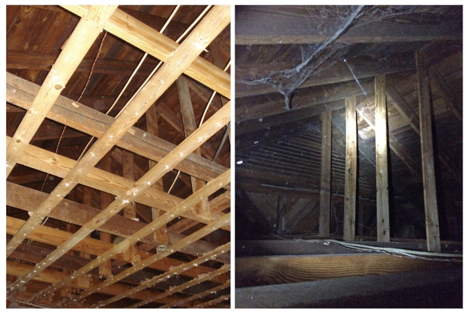 Attic gold! Matthew found a beautiful vaulted ceiling after removing the old, yucky acoustic tiles in the family room. Jackpot!