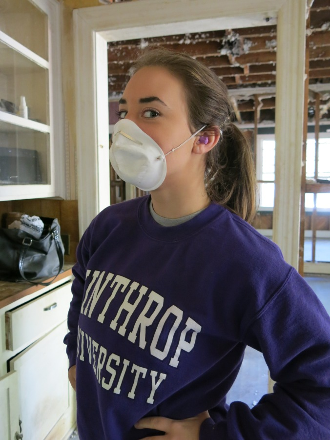 My sister, Emily, is stylish as always with purple earplugs that perfectly matched her sweatshirt.