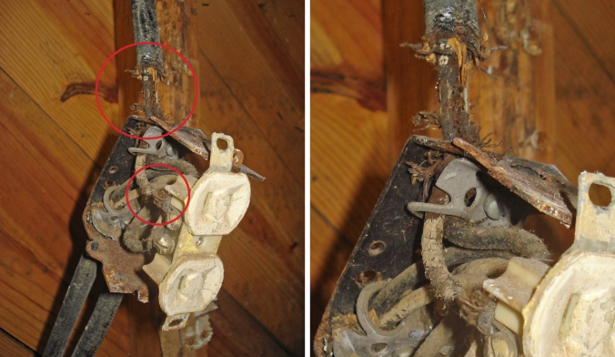 This is what a fire hazard looks like. Just one example of the state of our wiring... we found frayed, scary wires everywhere! Completely rewiring the nest? Good call, Newtons!