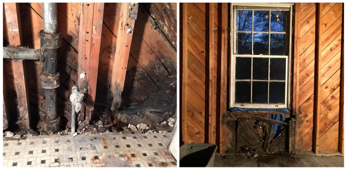 A couple of nasty rotten spots caused by slow leaks.
