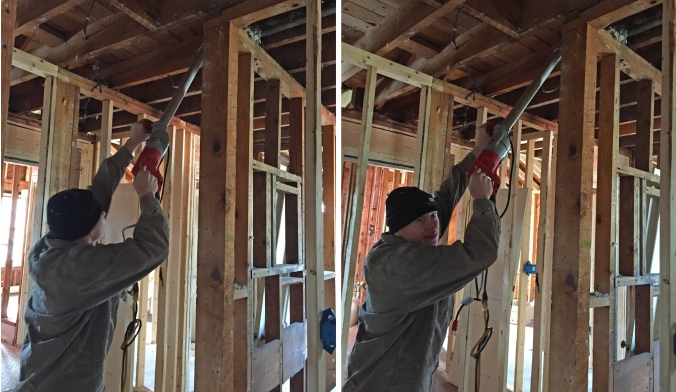 Jamie has all the fancy tools— he didn't even need a ladder to drill holes in the ceiling joists!