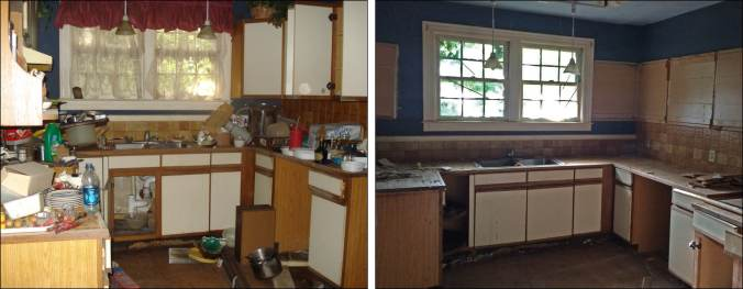 Kitchen before clean up and mid-demo