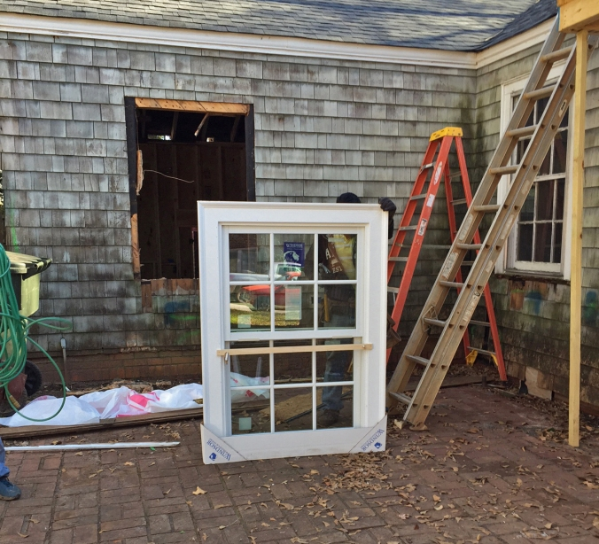 First window is about to go in...
