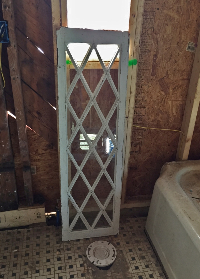 Master bathroom window was restored, but hasn't been installed yet. Can't wait to see this one go in!