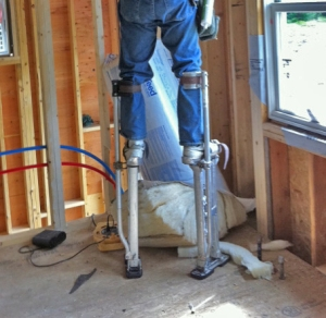 By the way, our insulation guy used stilts instead of a ladder!! Amazing!