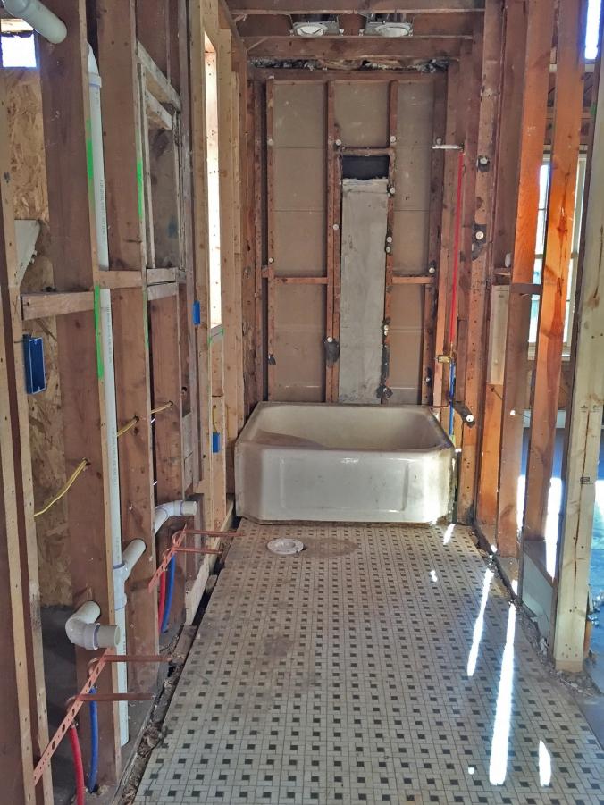 Master bathroom plumbing.
