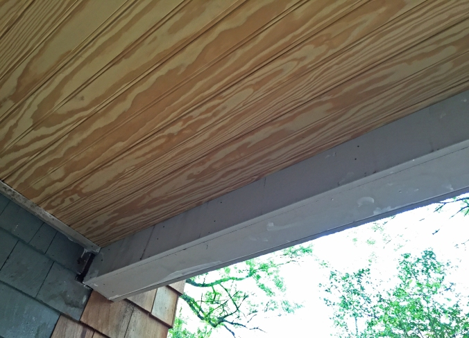 Close-up of the tongue and groove ceiling.