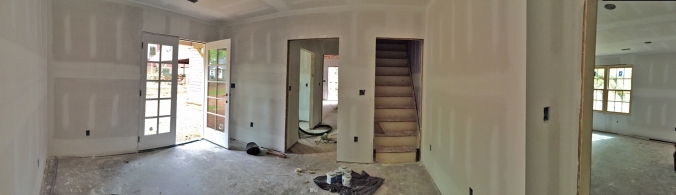 Dining Room opposite view, looking toward butler's pantry and stairs to second floor.