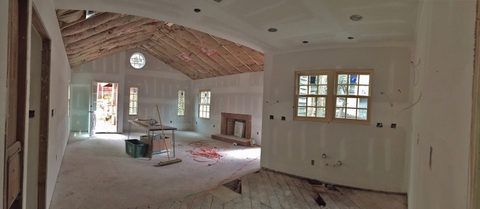Great Room/Kitchen (The great room ceiling will be covered by tongue and groove, so no drywall there!)