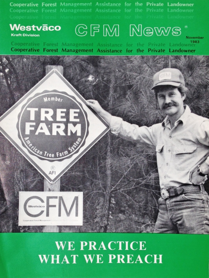 Here's a little Forester Flashback of Richard in his early forestry days. He's on the cover of Westvaco CFM News magazine, November 1983.