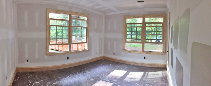 Baseboards and crown molding are up in the guest bedrooms!