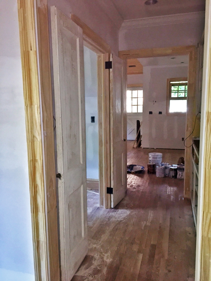 A view of the doors when they're open -- they fit perfectly and lay flat against the walls, so they don't block the butler's pantry pass-through.