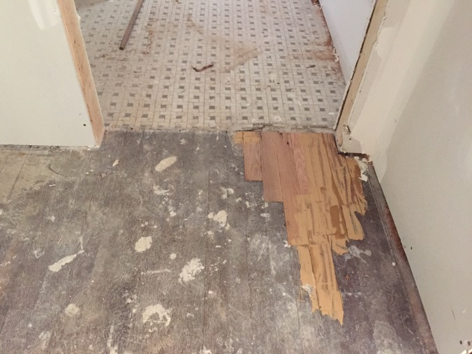 """Hall bathroom patched! (We moved the doorway about 18"""" to the right, leaving a gap in the hardwoods)."""