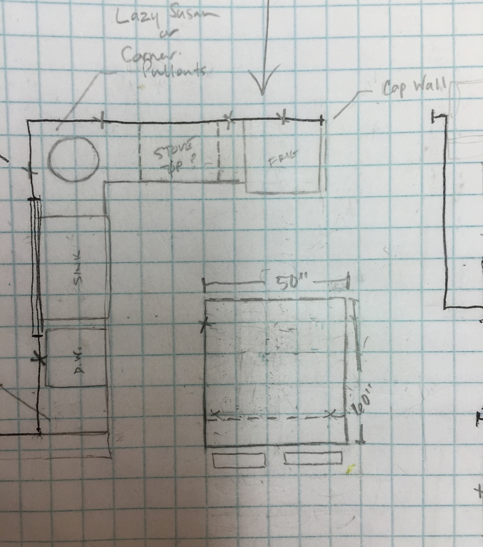 This sketch was our first pass at a layout for our kitchen cabinets... and it's pretty much what we went with!