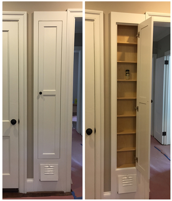 """One of my favorite things we did in the kitchen was turning the old ironing board cabinet into a place to keep all our spices. The cabinet maker removed the old built-in ironing board (and relocated it into our laundry room cabinets) and added small shelves just the right size for spice jars. I had our cabinet maker restore the little """"trap door"""" used to store the iron and keep that as part of the cabinet -- so cute!"""